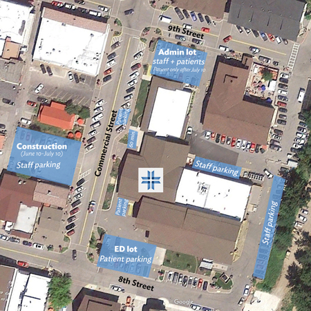 A map of the construction zone and places to park near Cascade Medical.