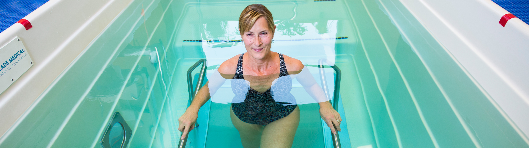 A patient exercises in Cascade Medical's therapy pool.