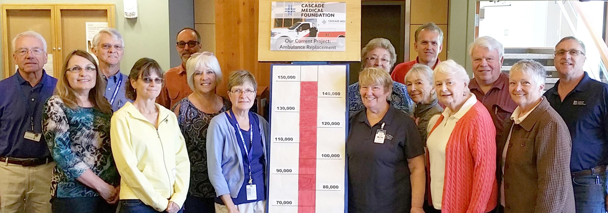Members of the Cascade Medical Foundation reach their fundraising goal to buy a new ambulance.