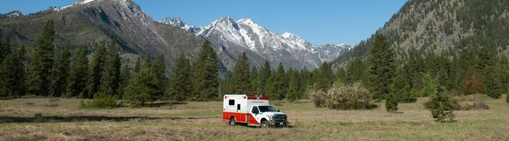 An ambulance parked in a scenic field off of Icicle Road in Leavenworth.